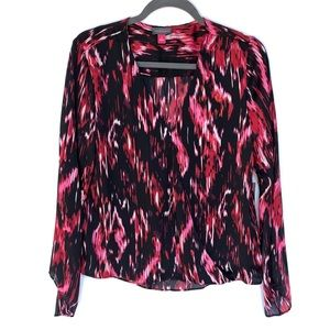 NWT Vince Camuto Ikat Flickers Faux Wrap Blouse